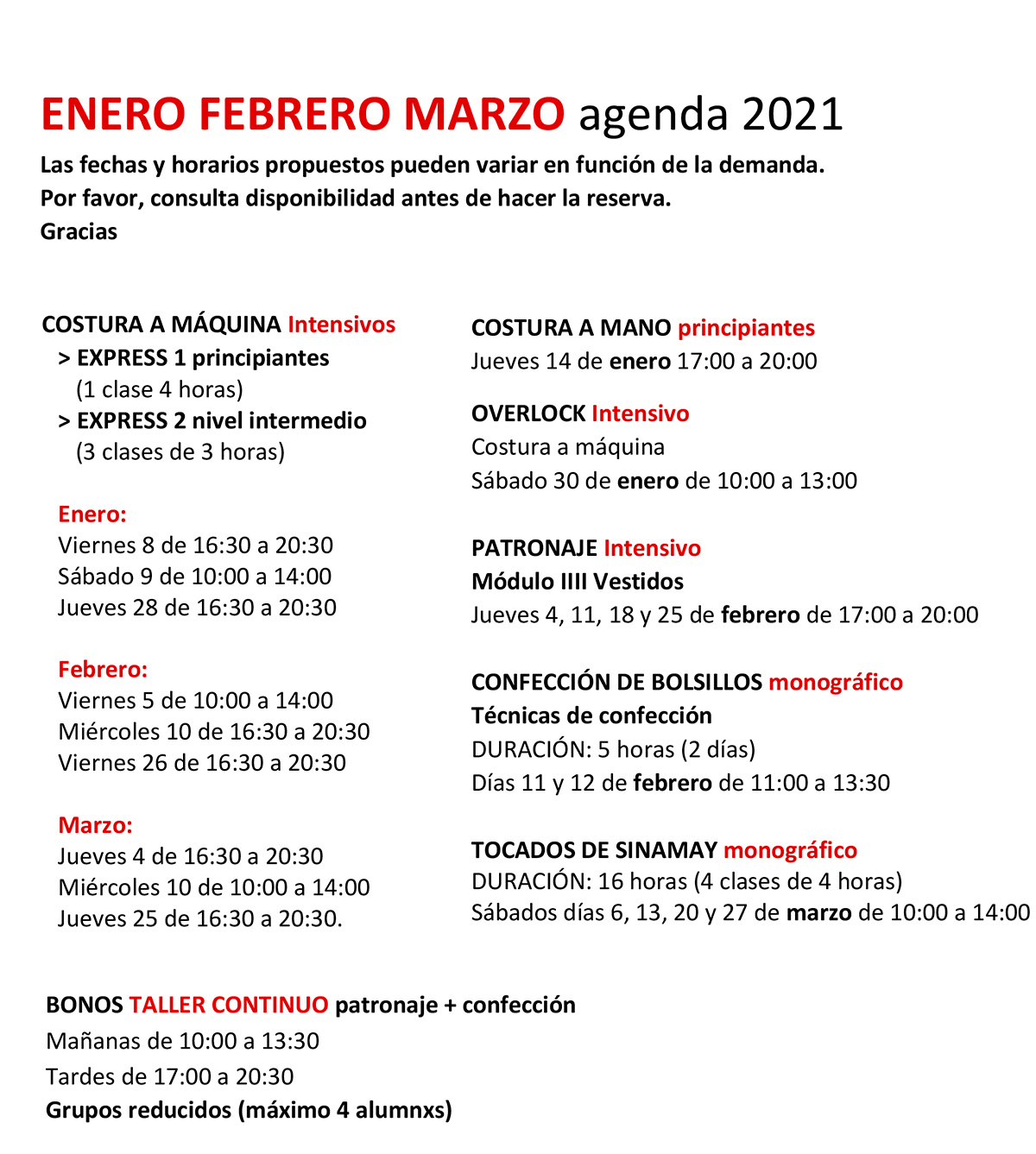 calendario costuclub